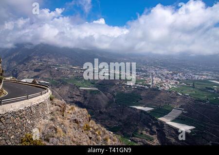 Panaromic view of Los Llanos and Tazacorte from Mirador El Time, La Palma, Canary Islands, Spain - Stock Image
