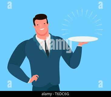 Businessman or seller offers a profitable business offer. Cartoon vector illustration - Stock Image