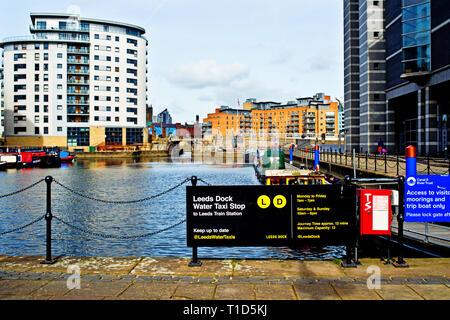 Leeds Dock Water Taxi Point, Leeds, England - Stock Image