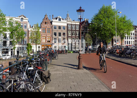 Cyclists in Amsterdam, Netherlands - Stock Image