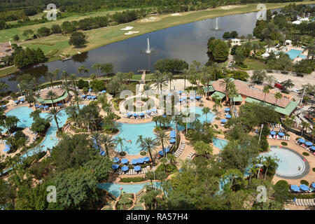 Tropical resort grounds in Oralndo, Florida seen from above - Stock Image