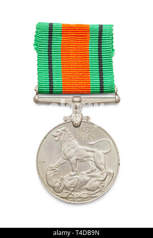 World War Two British Defense Medal Isolated on White Background. - Stock Image
