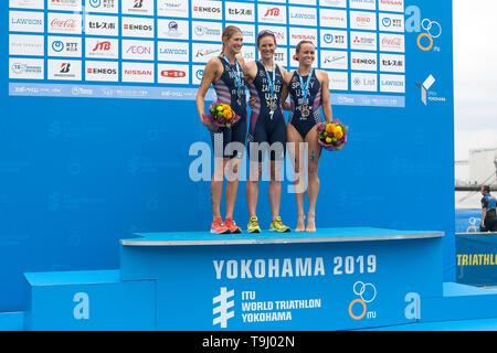 Yokohama, Japan. 18th May, 2019. 2019 ITU World Triathlon, World Paratriathlon Yokohama at Yamashita Park and Minato Mirai, Yokohama. Zaferes, Rappaport, Spivey (Photos by Michael Steinebach/AFLO) Credit: Aflo Co. Ltd./Alamy Live News - Stock Image
