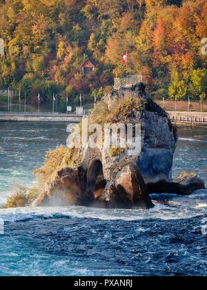 Rock of the Rhine Falls, Neuhausen am Rheinfall, Switzerland - Stock Image
