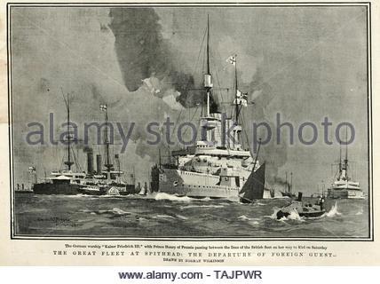 Great Fleet at Spithead,  German warship SMS Kaiser Friedrich III, the lead ship of the Kaiser Friedrich III class of pre-dreadnought battleships. 1902 - Stock Image