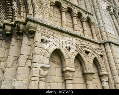 Castle Acre Priory - Norman Blind Arcade - Stock Image