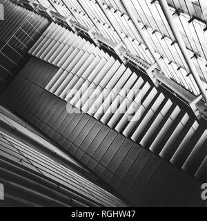 black and white interior fragment with ceiling and windows - Stock Image