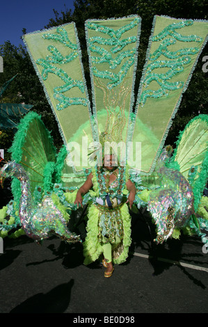 Carnival Butterfly Woman in the Notting Hill Carnival Parade 2009 - Stock Image