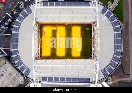 JANUARY 7, 2019, Amsterdam, Netherlands : Johan Cruyff Arena is the home of AFC Ajax soccer club in Amsterdam feat interior and exterior from roof top - Stock Image