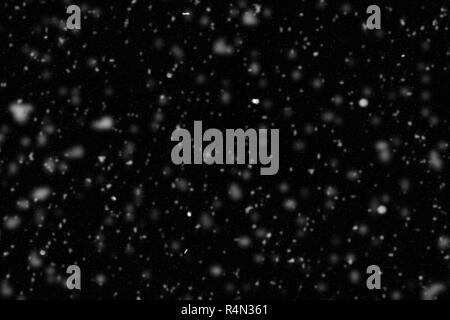Illustration of white snow on black background. Blurred winter abstract texture with falling snow. - Stock Image