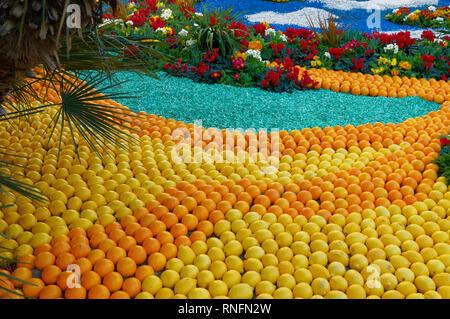 February 16th 2019 Menton, France,  the 86th LEMON FESTIVAL (les mondes fantastiques : pattern of lemons and oranges in a garden) - Stock Image