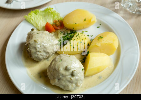 Germany, Berlin. Lunch plate of meatballs and potatoes. Credit as: Wendy Kaveney / Jaynes Gallery / DanitaDelimont.com - Stock Image
