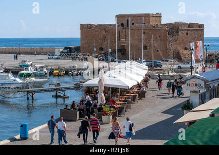 Paphos Harbour and Medieval Castle, Paphos (Pafos), Pafos District, Republic of Cyprus - Stock Image