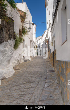 Traditional Spanish street in a small mountain village. - Stock Image