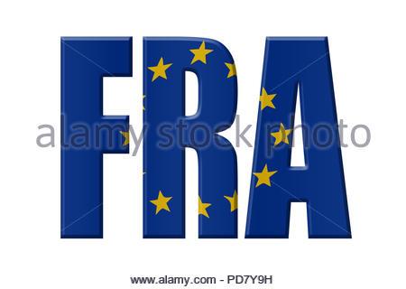 Digital Illustration - EU agency. FRA Fundamental Rights Agency, Agentur der Europäischen Union für Grundrechte, Europees Bureau voor de grondrechten - Stock Image