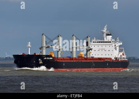 JS Columbia outbound from Hamburg. - Stock Image