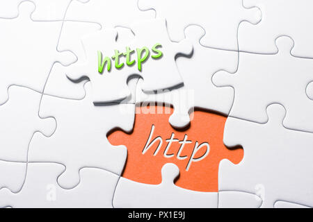 The Words HTTPS And HTTP In Missing Piece Jigsaw Puzzle - Stock Image
