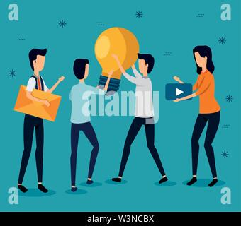 businessmen and businesswoman teamwork with letter and bulb idea - Stock Image