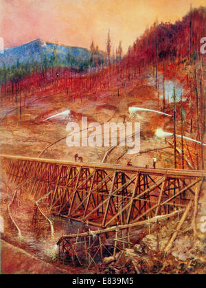 Filling in a timber trestle by Hydraulic sluicing circa 1920 - Stock Image