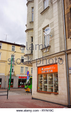 Poznan, Poland - March 8, 2019: Lombard585 pawnshop in a old building on the Slowackiego street in the city center. - Stock Image