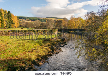A river running through the hills in Perthshire, Scotland in late Autumn - Stock Image