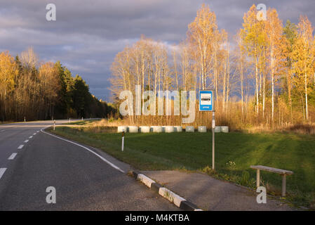 Bus stop on the Estonian landscape. October 22, 2017 - Stock Image