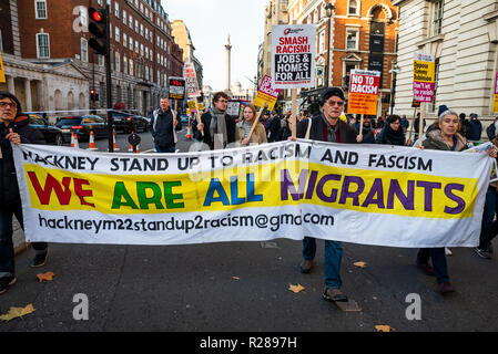 London, UK. 17th November 2018. National Unity Demonstration Against Racism and Fascism. The march proceeded from Portland Place, through Central London, to Westminster where a rally took place. Photo from the march pictured here. Hosted by Stand Up To Racism, LoveMusic HateRacism and Unite Against, Fascism. Credit: Stephen Bell/Alamy Live News. - Stock Image