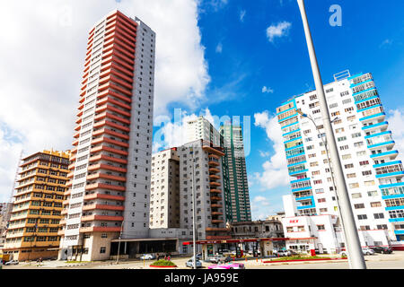 Highrise Apartment Buildings on the Malecon, Havana, Cuba, modern havana cuba, Modern Havana, Cuba, Cuban apartments, - Stock Image