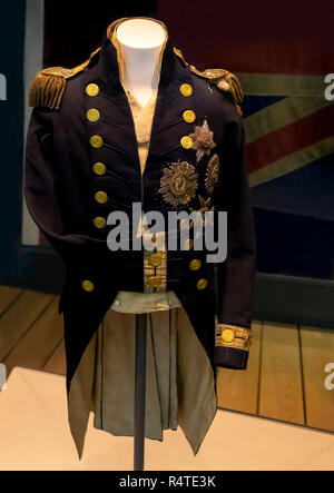 Uniform and Epaulettes Worn by Lord Nelson at the Battle of Trafalgar, - Stock Image