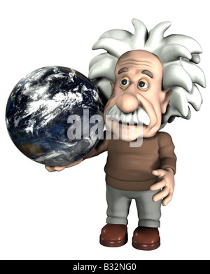 Albert Einstein with globe - Stock Image