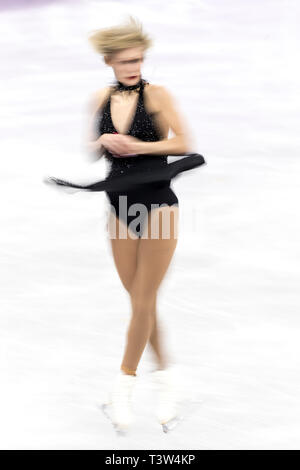 Blur motion action of Larkyn Austman (CAN) competing in the Figure Skating - Ladies' Short at the Olympic Winter Games PyeongChang 2018 - Stock Image