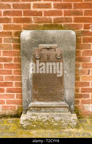 The memorial plaque to Flight Lieutenant David Samuel Anthony Lord VC DFC of 271 Squadron RAF in Wrexham Wales - Stock Image