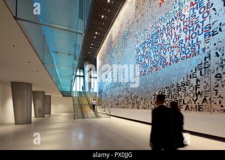 Interior view of lobby, The American Embassy in Nine Elms, London, UK. - Stock Image