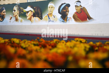 Indian Wells, California, USA. 12th March 2017. A banner of WTA stars during the BNP Paribas Open at Indian Wells - Stock Image