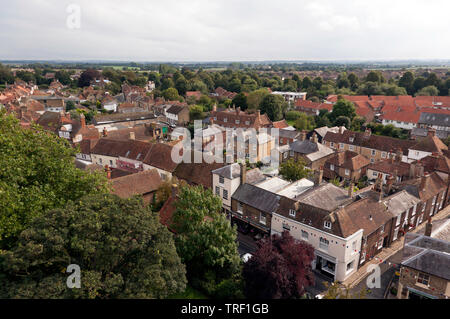 Wide-Angle, Panoramic aerial view looking down on the historic Town of Sandwich, Kent, UK  Taken from the top of the tower of St Peters Church - Stock Image