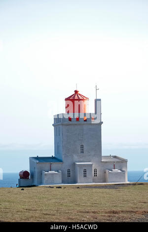 Icelandic lighthouse against clear sky - Stock Image