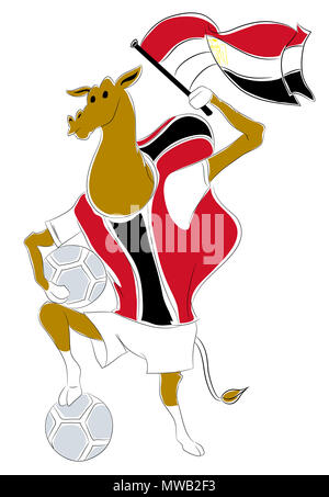world cup mascot egypt.  Egyptian camel soccer mascot. Football tournament 2018. logo for the summer soccer championship. - Stock Image