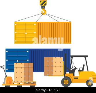 cargo containers with pushcart and lift truck with boxes vector illustration graphic design - Stock Image