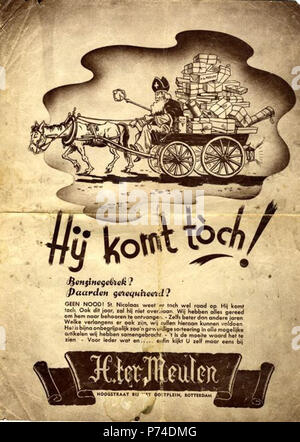 Nederlands: Aankondiging van Ter Meulen. Het sinterklaasfeest kan doorgaan. Ook al is er geen benzine en zijn de paarden gevorderd. Het assortiment is rijk en er is voor ieder wat wils. Benzinegebrek Paarden gerequireerd GEEN NOOD. St Nicolaas weet er toch wel raad op. Hij komt toch. Ook dit jaar zal hij niet overslaan. ........ between 1939 and 1943 49 Ter Meulen folder - Stock Image