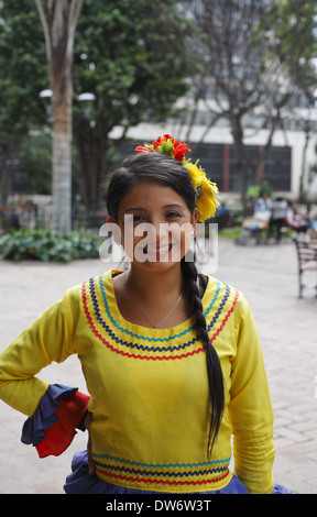 A Colombian woman wearing traditional dress, Bogota, Colombia - Stock Image