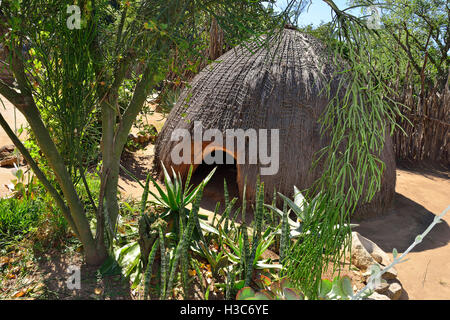 Round huts surrounded by kraals and byres for cattle and goats, reed fences in a  living museum of Swazi lifestyle - Stock Image