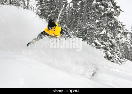 Skier extreeme backcountry speed ski - Stock Image