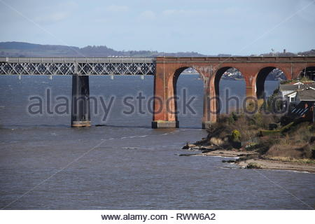 Brick arches of Tay Rail Bridge and Wormit Fife Scotland  March 2019 - Stock Image