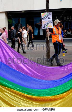 Nottingham, UK. 30th July, 2016. Nottingham Pride parade. LGBT (lesbian, gay, bisexual, transgender) community celebration - Stock Image