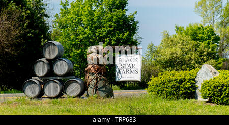 Black Star Farms Winery Vineyard sign with stack of barrels, Old Mission Peninsula, Traverse City, Michigan, USA. - Stock Image
