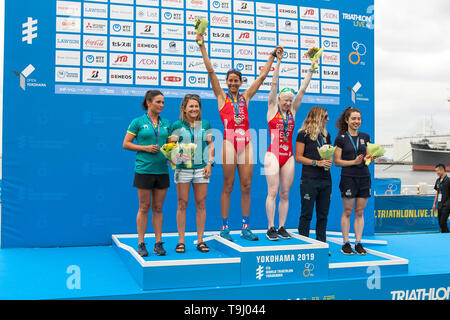 Yokohama, Japan. 18th May, 2019. 2019 ITU World Triathlon, World Paratriathlon Yokohama at Yamashita Park and Minato Mirai, Yokohama. Rodriguez, Kelly, Reid (Photos by Michael Steinebach/AFLO) Credit: Aflo Co. Ltd./Alamy Live News - Stock Image