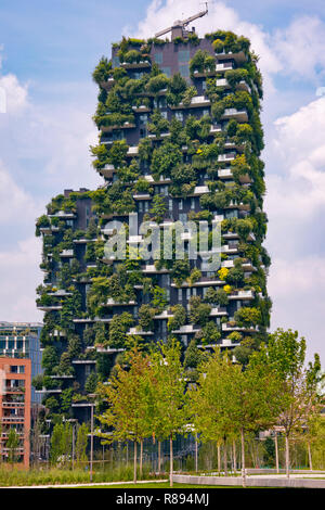 Horizontal Vertical Square view of the Bosco Verticale in Milan, Italy. - Stock Image