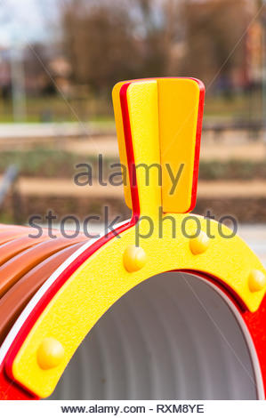 Close up of a train shaped equipment on a playground. - Stock Image