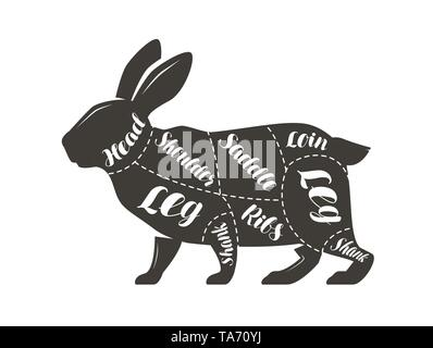 Cut of meat, rabbit. Poster butcher diagram and scheme, vector illustration - Stock Image