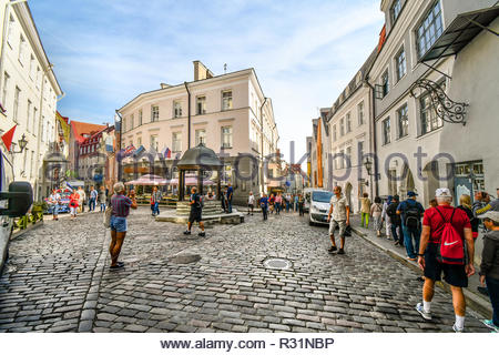 Tourists shop and sightsee as they pass by the famous Cat's Well in the Old Town section of the medieval city of Tallinn, Estonia. - Stock Image